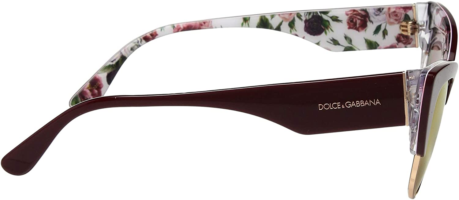 56a2088705ee Amazon.com: Dolce & Gabbana Women's 0DG4346 Bordeaux/Rose/Peony/Dark Violet  Mirror Red One Size: Clothing