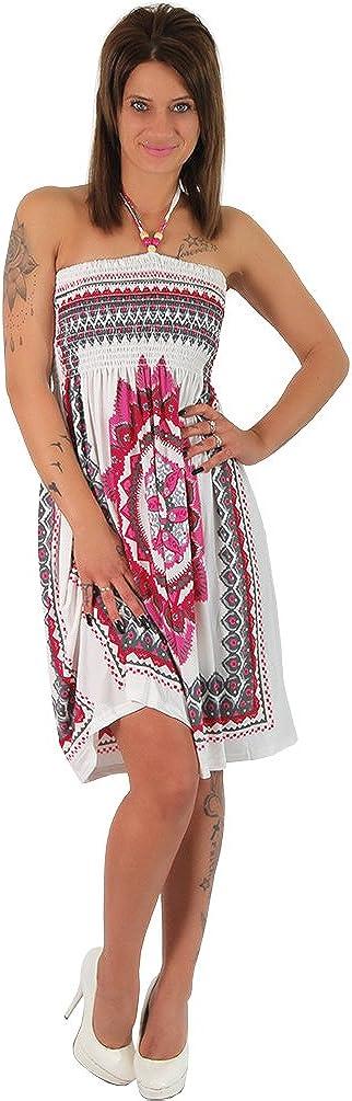 Neckholder Sommer Bandeau Kleid Holz-Perlen Damen Strandkleid Tuchkleid Tuch Aztec