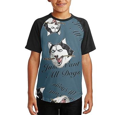 Just Want All Dogs Youth Short Sleeves Raglan Print Baseball T-Shirts Tops