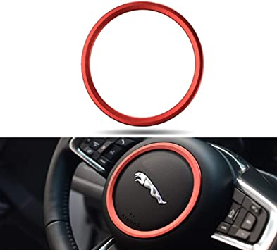 Jaguar XE XF F-PACE F-Type 2015-2018 Premium Aviation Aluminum Alloy Car Steering Wheel Decoration Ring Sticker Decals Silver