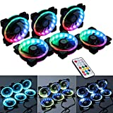 led 120mm fan - LEDdess RF Remote Control RGB LED 120mm Case Fan for PC Cases, CPU Coolers, Radiators system (6pcs rgb fans, RF Remote Controller, A Series)