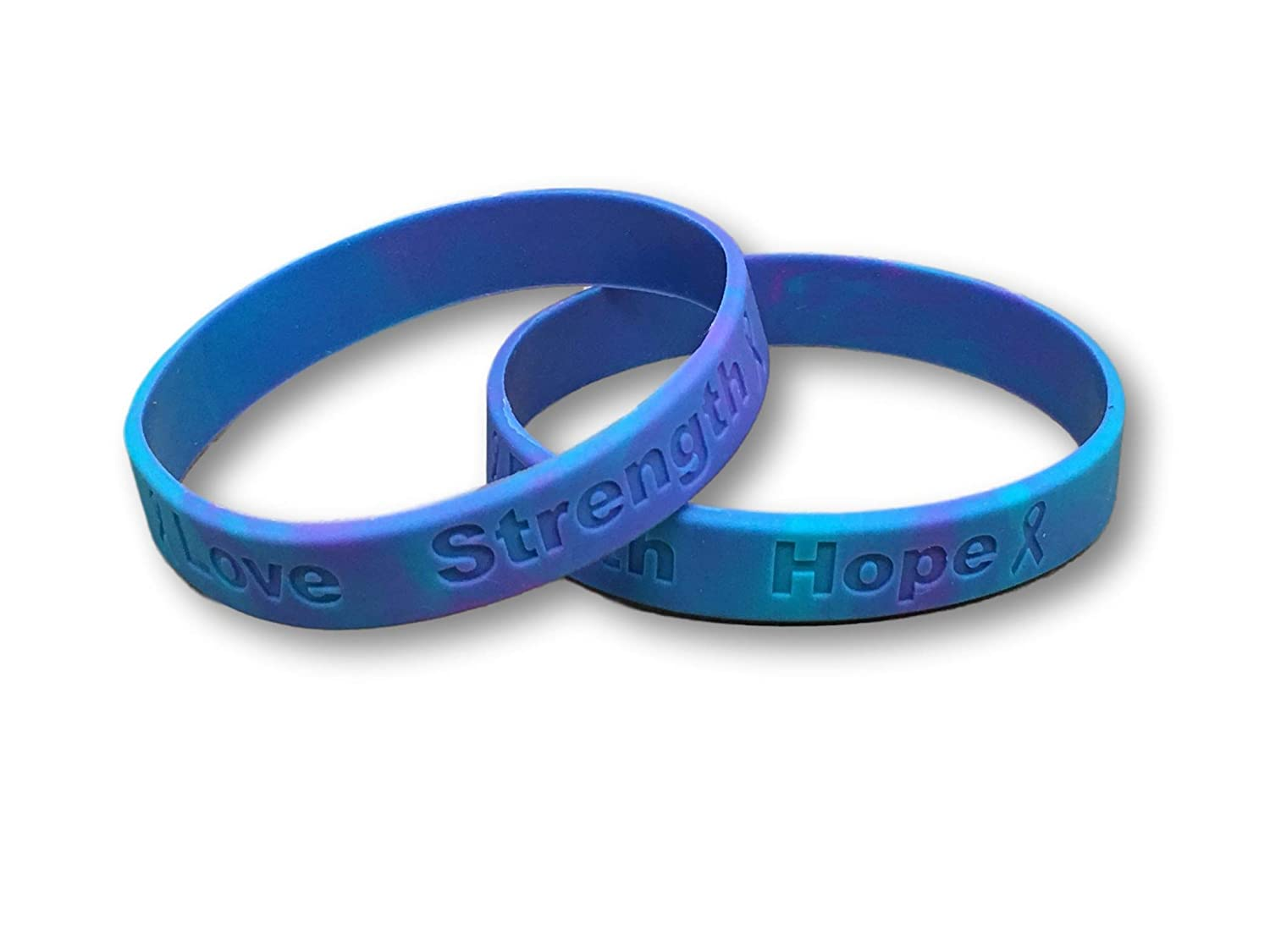 25 Sexual Assault Teal and Purple Silicone Awareness Bracelets Medical Grade Silicone Latex and Toxin Free 25 High Quality Bracelets