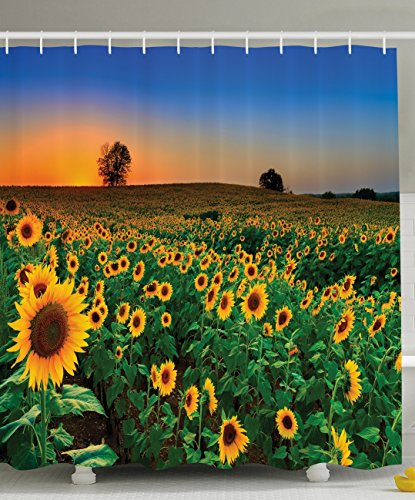 Ambesonne Nature Art Collection, Sunflower Picture Painting Effect Sunset Artwork Prints, Polyester Fabric Bathroom Shower Curtain Set with Hooks, Blue/Brown/Yellow