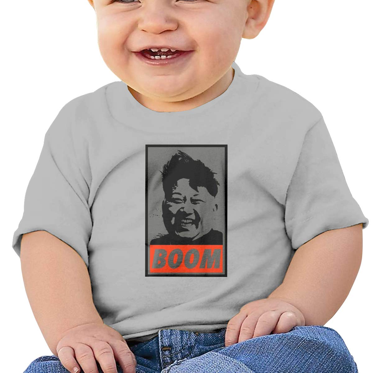 DONGLY 6-24 Month Baby T-Shirt Kim Jong Un Boom Nordic Winter Personality Wild Gray