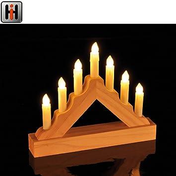 Led Fenster Weihnachtsbeleuchtung.Mini Lichterbogen Aus Holz Mit 7 Led Kerzen 21x18cm