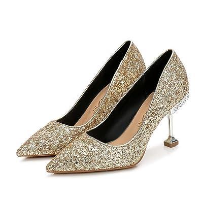 Femmes Talons Hauts Printemps Été Paillettes Tip Talons Confort Chaussures De Mariage Banquet Noir Rouge Or Argent Gris 5.5 & 8.5 cm GAOLIXIA ( Color : Gold8.5cm , Taille : 36 )