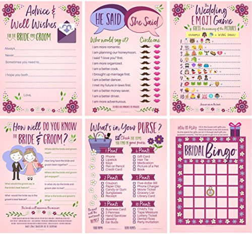 6 Bridal Shower Games for Guests (25 of Each Game) Bridal Advice & Wishes, Bridal Bingo, How Well Do You Know the Bride and Groom?, Wedding Emoji Game, What's In Your Purse?, He Said/She Said Game (Between Game Sheets The)
