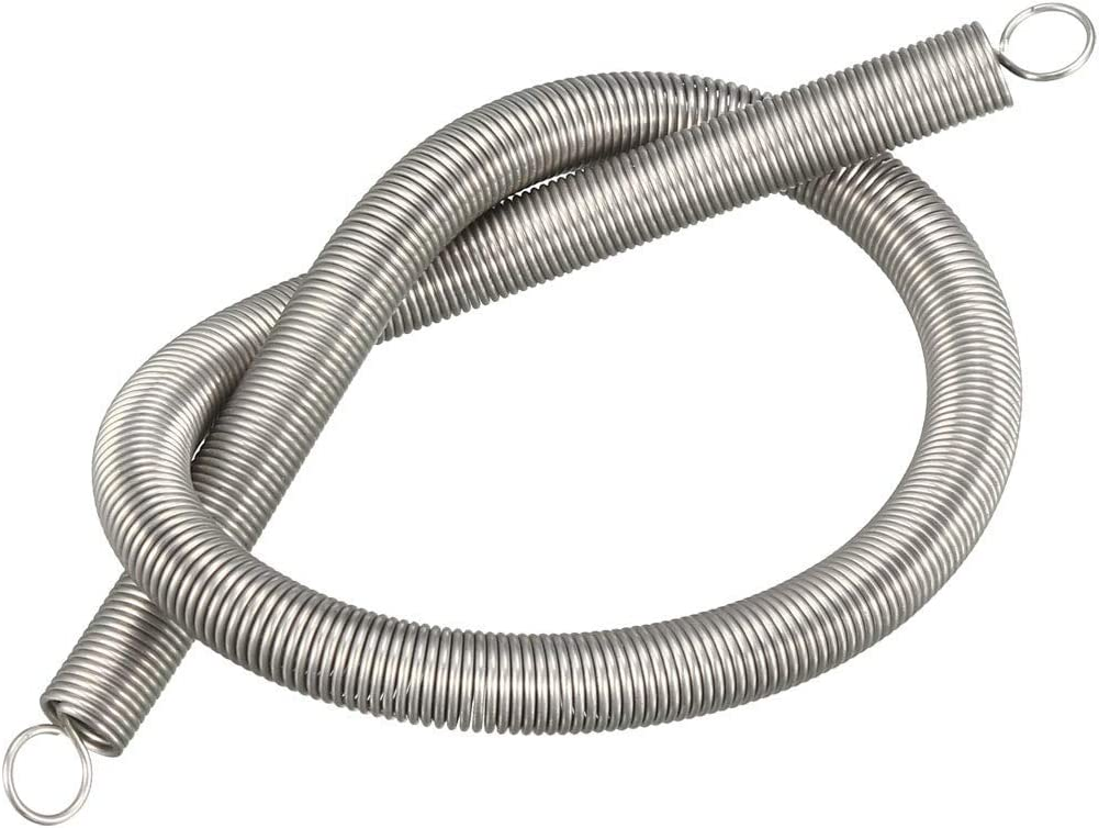 free length 11.81 inches Stainless steel Small double hook tension spring OD 0.31 inches extended compressed spring wire diameter 0.031 inches