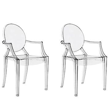 chairs4you - Juego de 2 sillas Transparentes inspirees Louis ...