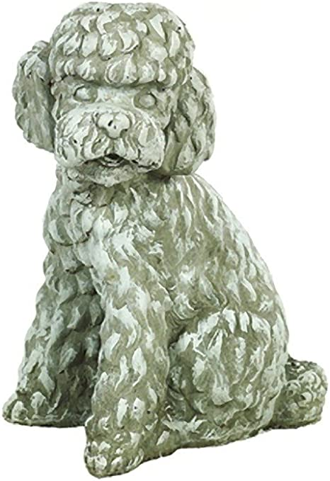 Solid Rock Stoneworks Long Hair Poodle Dog Stone Statue 12in Tall Marble Tone Color Garden Outdoor