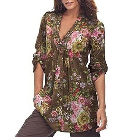 2042d2540f5 Kstare Women Causal Long Sleeve Floral Print V-neck Cardigan Tops Blouse  Plus Size (