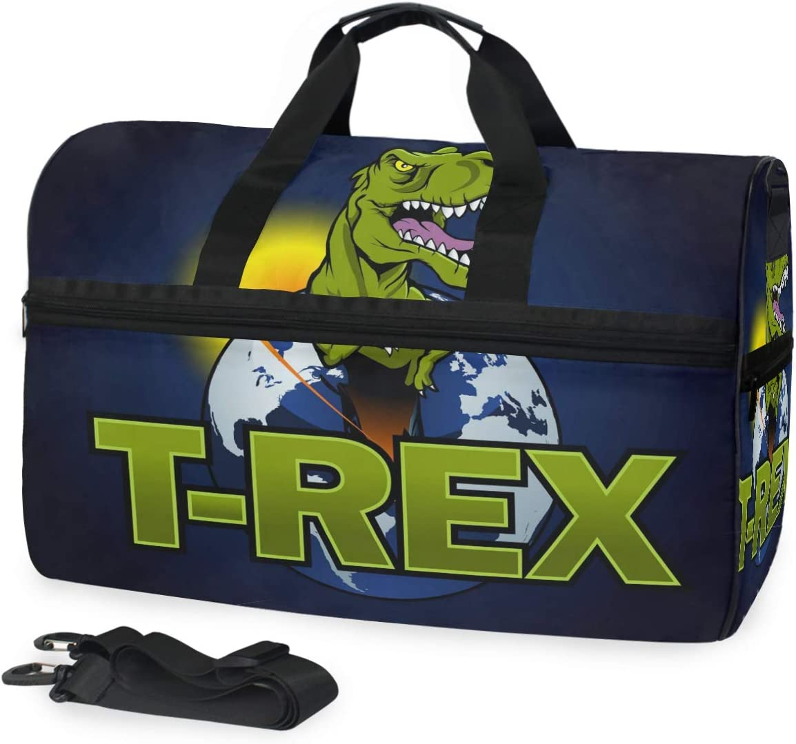 Dinosaur The Planet Sports Gym Bag with Shoes Compartment Travel Duffel Bag for Men and Women