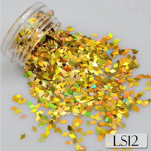 (Laser Silver Gold Flakes Nail Art Sequins Colorful Glitter Rhombus Shape For Diy Craft)