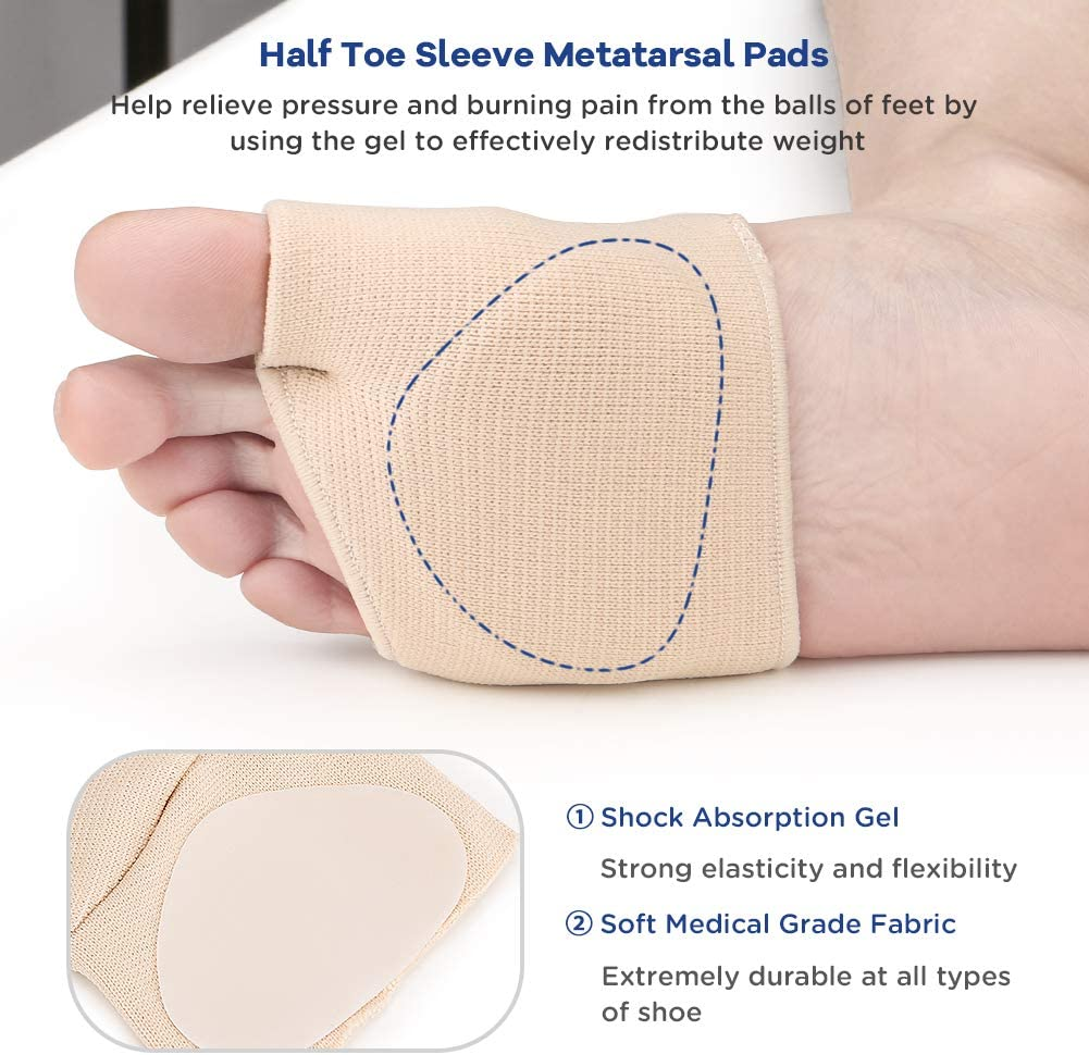 Metatarsal Sleeve Pads Half Toe Bunion Sleeve with Sole Forefoot Gel Pads Cushion for Diabetic Feet Metatarsalgia Mortons Neuroma Prevent Calluses Blisters