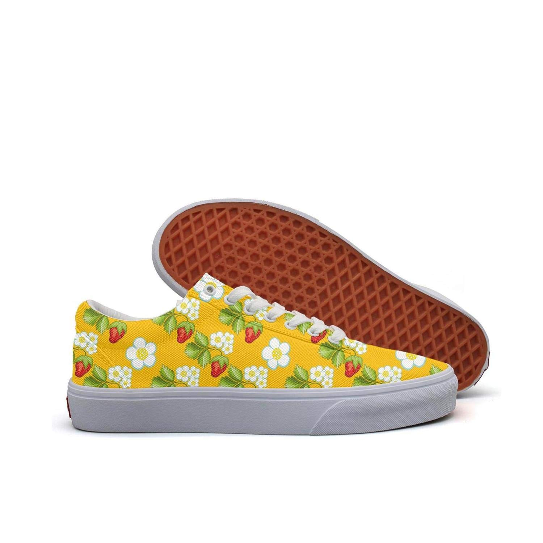 Lingxxshow Strawberry Plants Fruit Hand Drawn Low Top Canvas Sneakers Skateboard Shoes Slip on Lace-up Fashion Sneaker Shoe Women