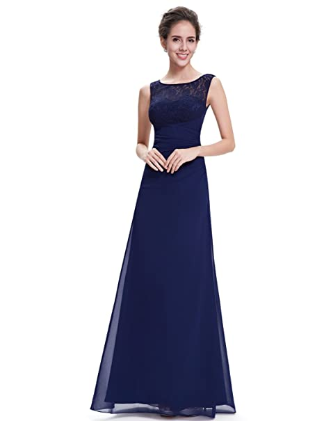Ever Pretty 08641 - Elegante vestido largo de noche con cuello de pico azul azul marino