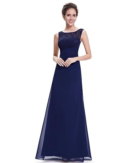 Ever Pretty 08641 - Elegante vestido largo de noche con cuello de pico azul azul marino 44: Amazon.es: Ropa y accesorios