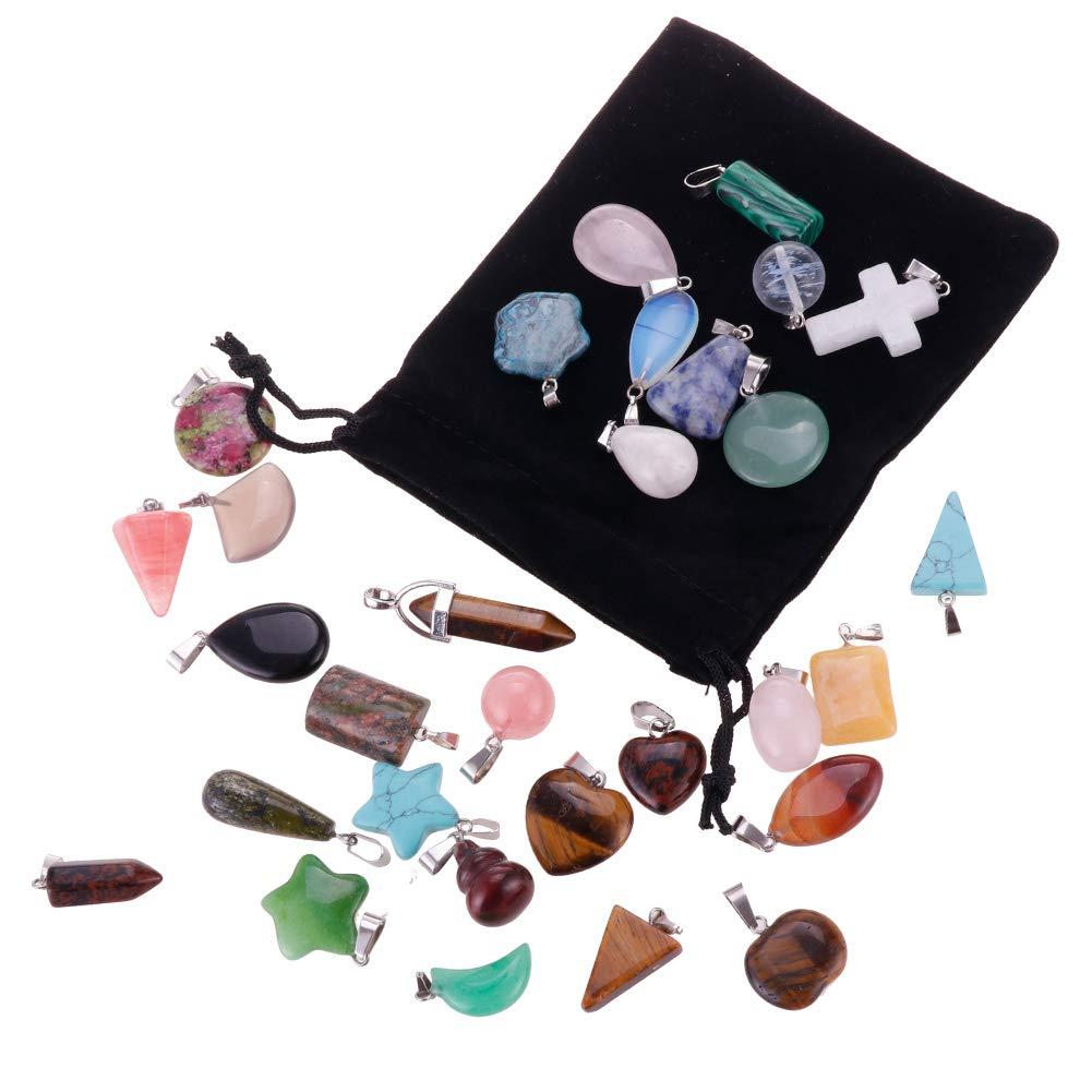 Mix Random 30pcs Natural Stone Pendants Charms Jade Turquoise Stone Beads Bracelet Necklace Jewelry Findings Gemstone Mix Styles