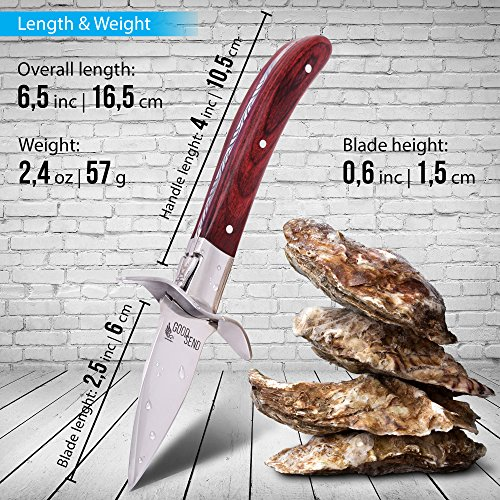 Oyster Knife - Oyster Shucking Knife - Oyster Shucker - Oyster Opener - Oyster Clam Pearl Shell Shucking Knife and Opening Tool – Includes 27 Recieps by GoodSend (Image #2)