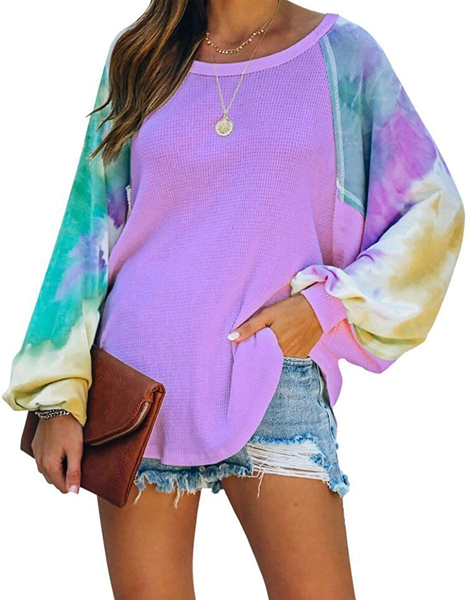 ETCYY Women's Tie Dye Off Shoulder Sweater Colorblock Batwing Sleeve Loose Oversized Knit Sweatshirt Pullove Tops