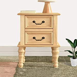 XM&LZ Rustic Pine Nightstand for Bedroom,Narrow Sofa End Table Home Furniture,Wooden Bedside Table with Drawers Dresser Easy to Assemble