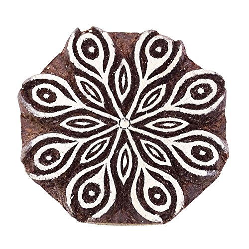Women Printing Block Art Brown Wooden Floral Stamp Hand Carved Textile Stamp ()