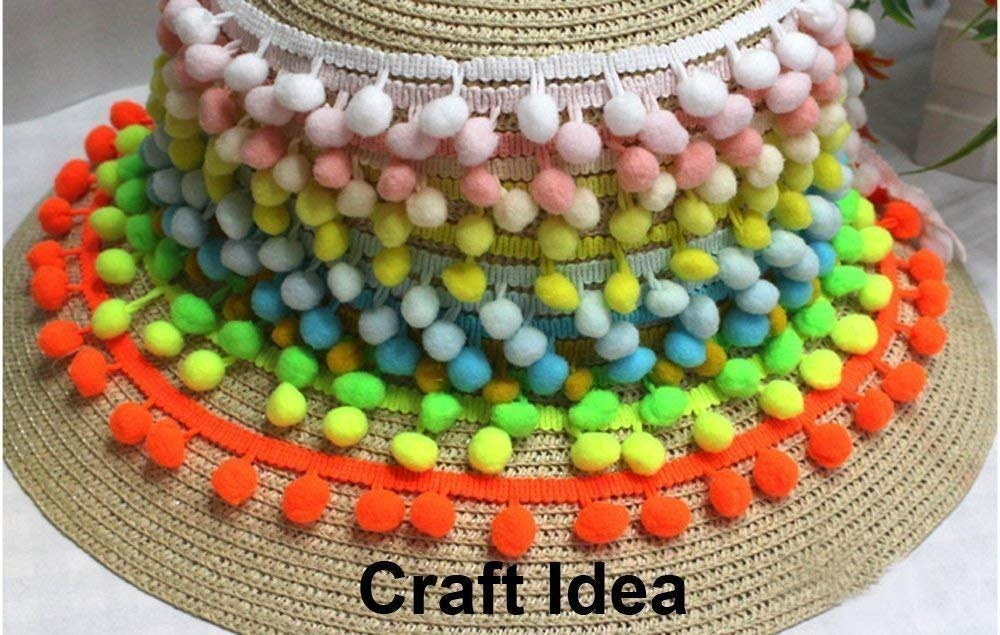 YCRAFT One Roll 16 Yards Ball Fringe 5//8 Wide Pom Pom Trim Ribbon Sewing-Navy
