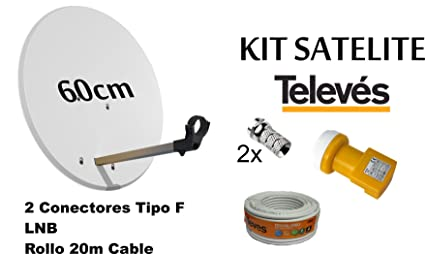KIT ANTENA PARABOLICA PARA ASTRA TELEVES 60cm + ROLLO DE CABLE 20 mt + CONECTOES Y