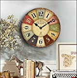 14-inch Paris French Style Wood Clock, Eruner Rustic French Country *Cafe De La Tour* Shabby Chic Retro Style Non-Ticking Wooden Wall Clock Kitchen Livingroom Bedroom Decoration(14'', #01)