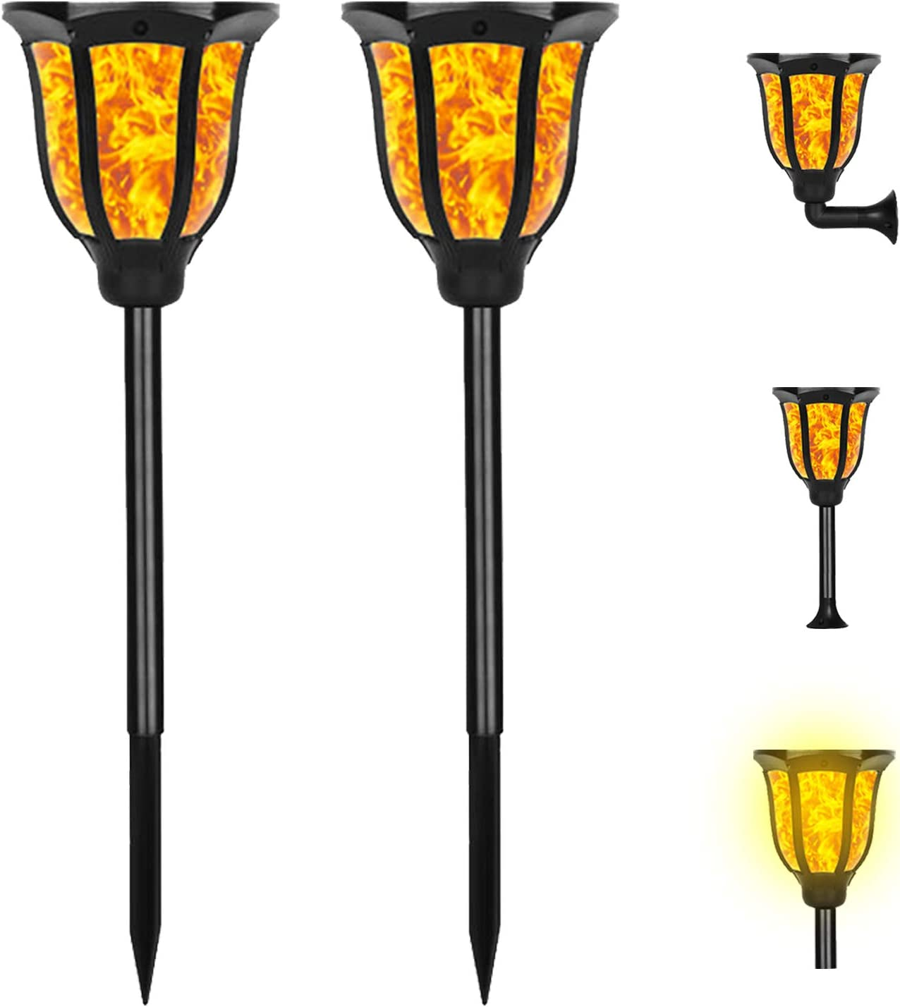 Solar Torch Lights, Outdoor Flame Solar Lights with Flickering Dancing Flames, 3 in 1 Waterproof Landscape Light Auto On/Off for Garden Patio Pool Yard Driveway Pathway