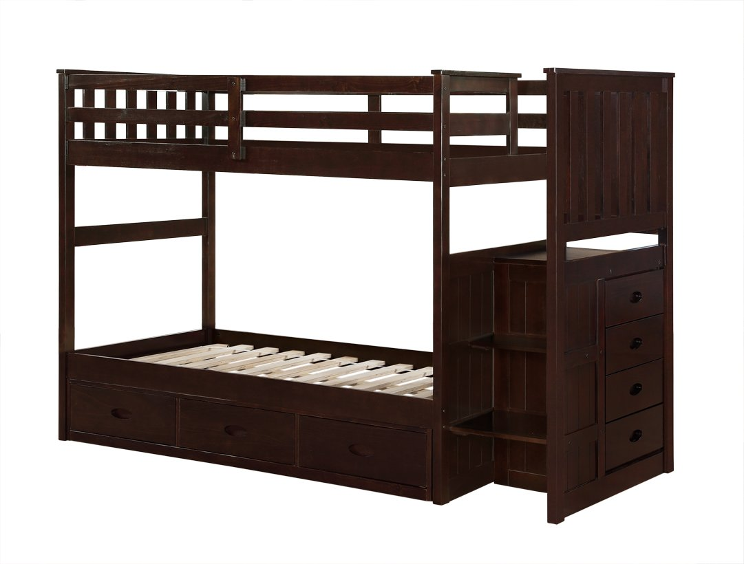 Boraam 97122 Bunk Bed, Twin and Twin, Cappuccino