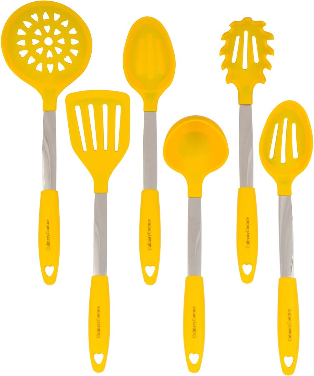 Yellow Kitchen Utensil Set - Stainless Steel & Silicone Heat Resistant Professional Cooking Tools