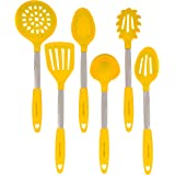 Yellow Kitchen Utensil Set - Stainless Steel & Silicone Heat Resistant Professional Cooking Tools - Spatula, Mixing & Slotted Spoon, Ladle, Pasta Fork Server, Drainer - Bonus Ebook!