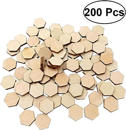 SUPVOX 200pcs dischi di legno fette di forma esagonale incompiuta in legno ritagli artigianali fai da te decorazione