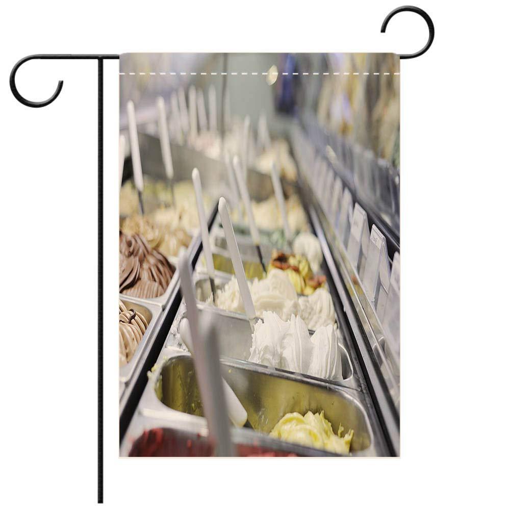 BEICICI Garden Flag Double-Sided Printing,A Restaurant Refrigerator Full of Italian ice Creams Decorative Deck, Patio, Porch, Balcony Backyard, Garden or Lawn
