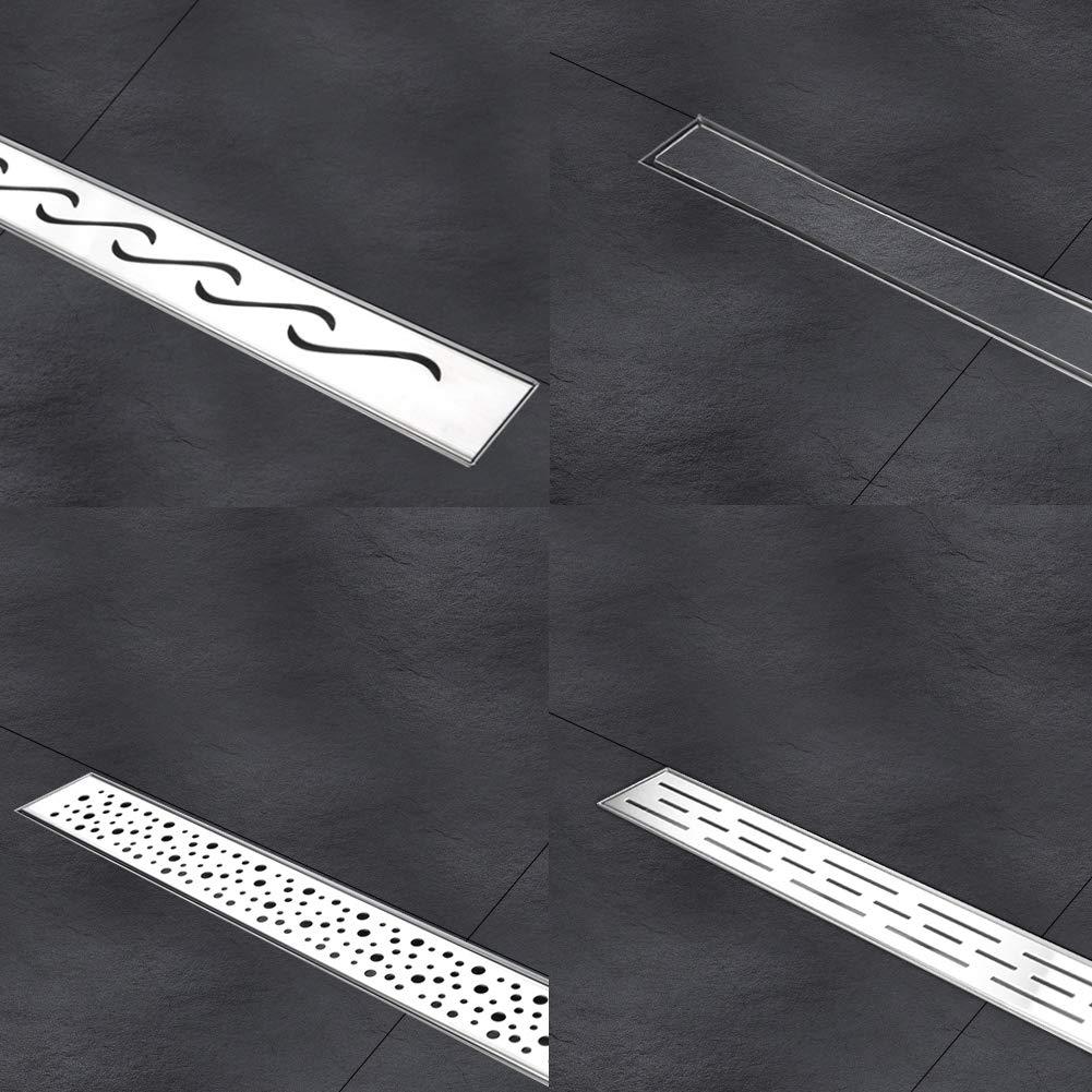 dise/ño moderno l/íneas 100cm, Alicatable Rejilla de ducha de desag/üe de suelo de ba/ño de acero inoxidable ba/ño largo invisible S SIENOC Desag/üe de ducha de acero inoxidable extremadamente plano