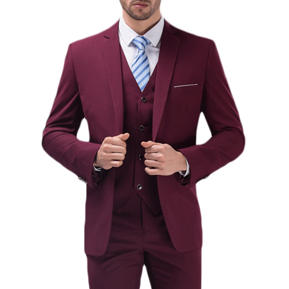 YIMANIE Mens Solid 3-Piece Suit One Button Formal Jacket Pants Vest Set Blazers, Wine Red, Large