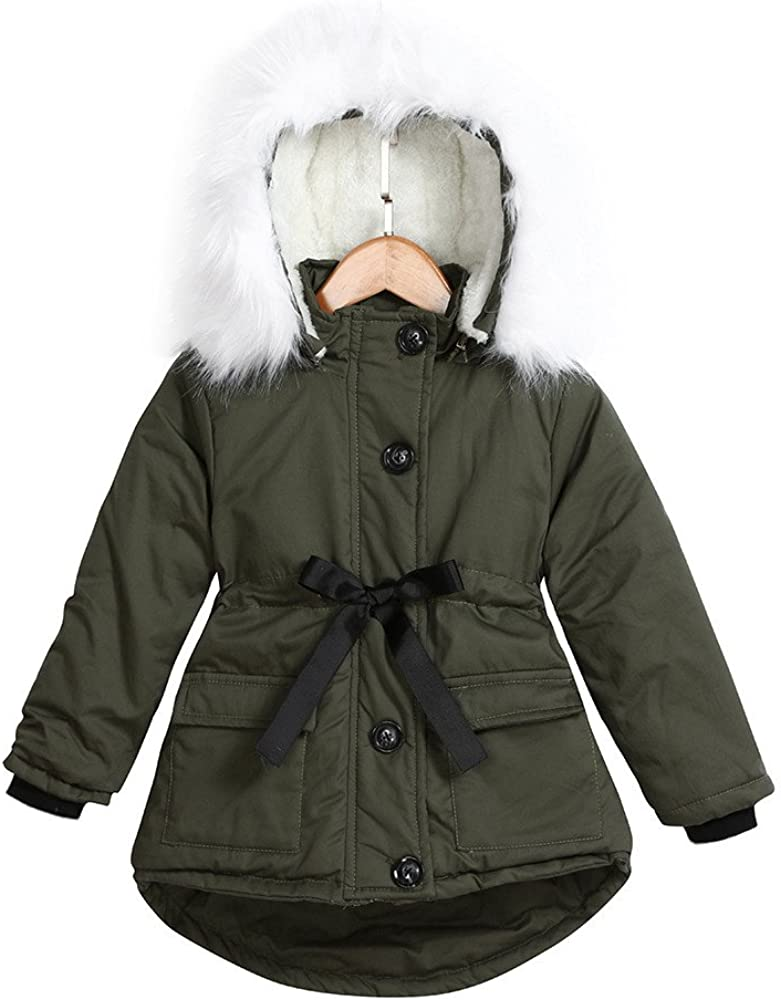Clearance Kids Baby Girls Hooded Tops Coat Jacket,Warm Thick Plush Zipper Padded Bubble Belted Jacket Parkas Outwear