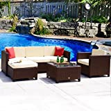 Cheap Cloud Mountain 6 PC Rattan Wicker Sectional Furniture Set Outdoor Conversation Set Backyard Patio Garden Cushioned Sofa Loveseat Table, Cocoa Brown Rattan Beige Cushions
