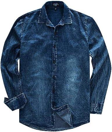 Hombres, Solapa, botón clásico, Regular, más tamaño, Lavado, Jean Casual, Denim, Manga Larga, Camisa de algodón Top: Amazon.es: Ropa y accesorios