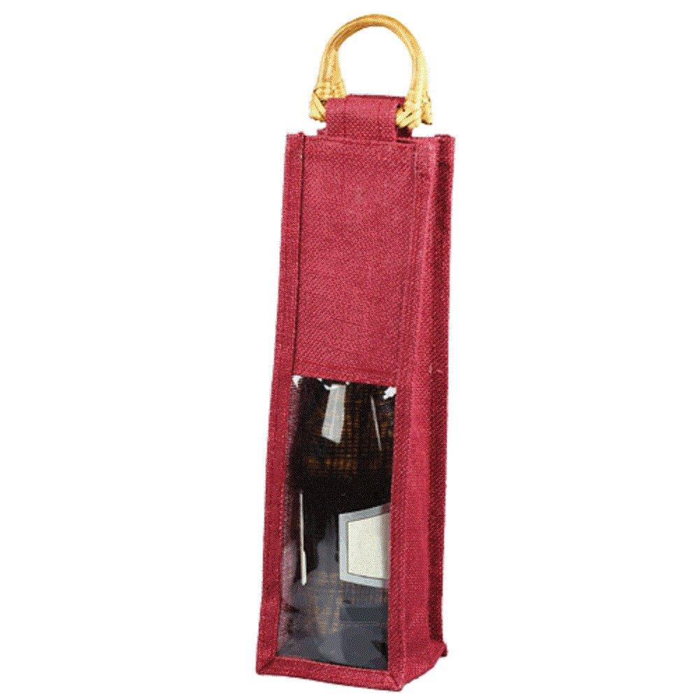 Jute Wine Single Bottle Gift Tote Bags Burlap w/ Cane Handles & PVC Window (12, BURGUNDY)