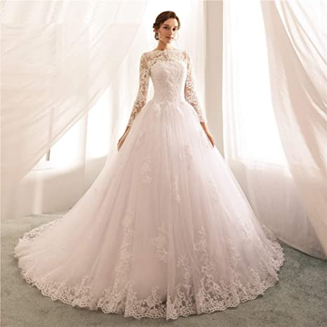 Lszhgl Wedding Dresses Sexy Lace Appliques Wedding Dress Ball Gown Long Sleeve Bridal Wedding Gowns Amazon Co Uk Sports Outdoors