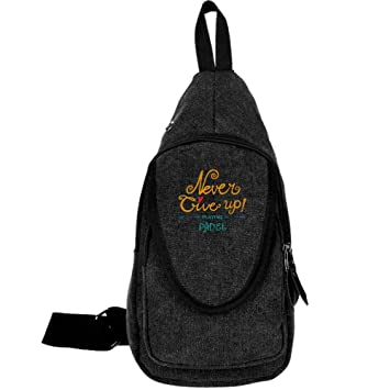 Amazon.com : X-JUSEN Canvas Sling Bag, Never Give Up Playing ...