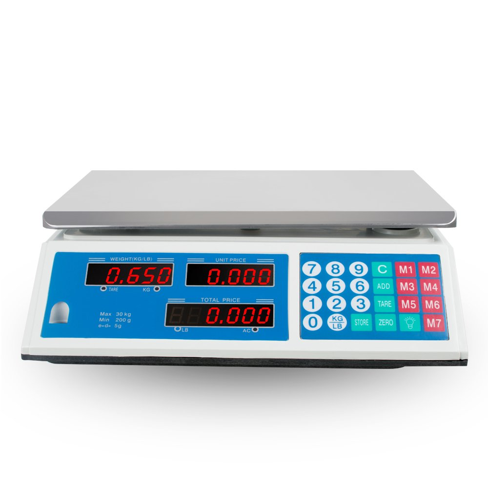 66lb (30kg) Digital Weight Scale, Pevor Electrical Price Computing Scale Food Meat Scale Retail Price Counting Equipment for Food Fruit Produce Cafeteria Grocery Deli Market Farmer(US Shipping 3-5 day Peovr