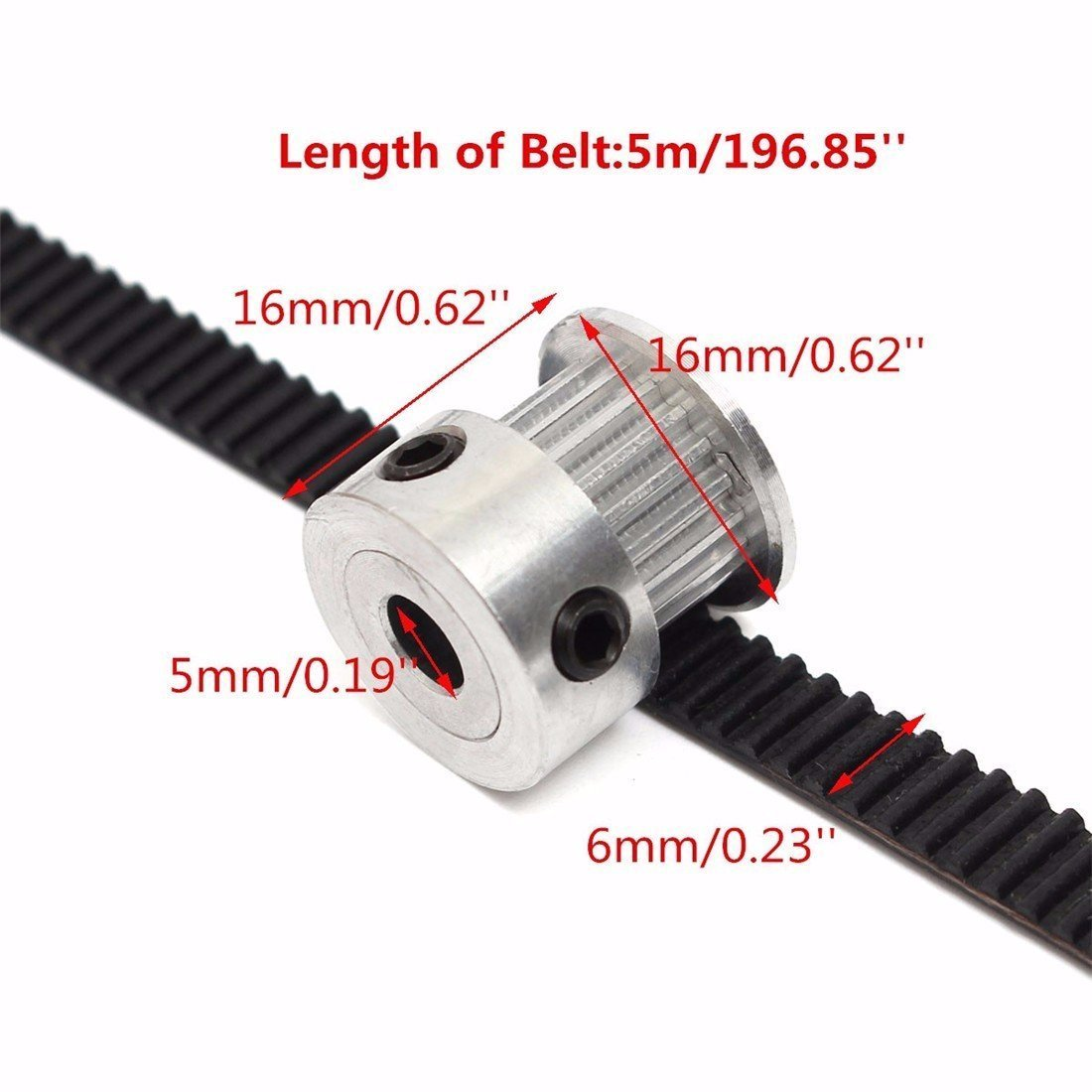 2 m GT2-6 mm goma cintur/ón correa dentada banda de transmisi/ón de goma JSDL 2 x GT2 20-dientes 3D-impresora de correa