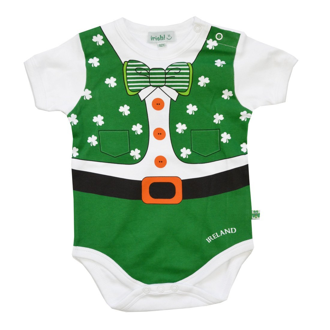 Full Leprechaun Baby Vest With a Shamrock and Bow Tie Design Carrolls Irish Gifts