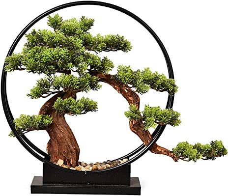 Amazon Com Artificial Bonsai Tree Welcome Bonsai New Chinese Style Living Room Zen Ornaments Simulation Tree Artificial Welcoming Pine Bonsai Porch Tv Cabinet Hotel Wrought Iron Home Decoration Ornaments Artifi Home Kitchen
