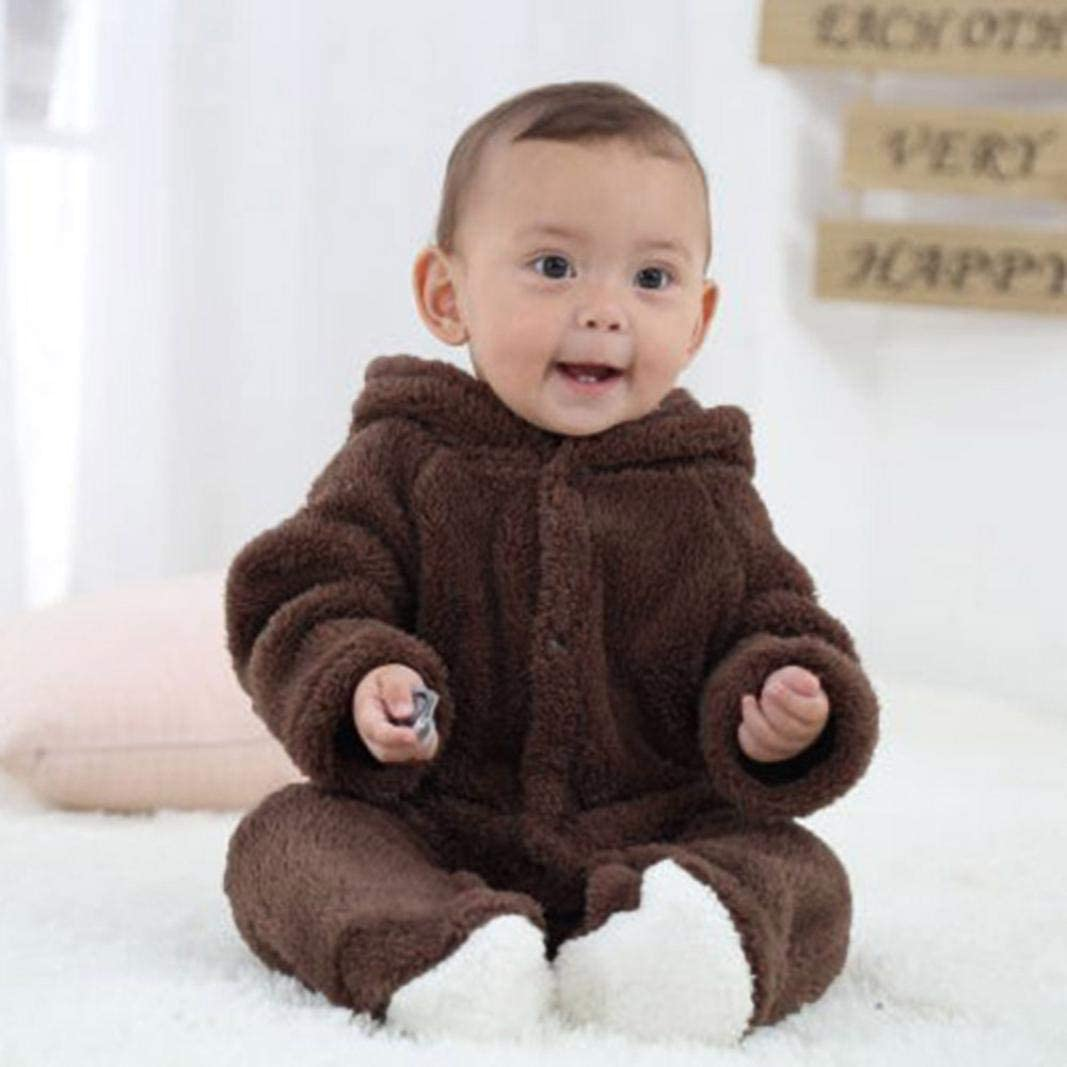 KaiCran 0-12M Newborn Baby Boys Girls Fleece Romper Long Sleeve Winter Warm Hooded Jumpsuit Bear