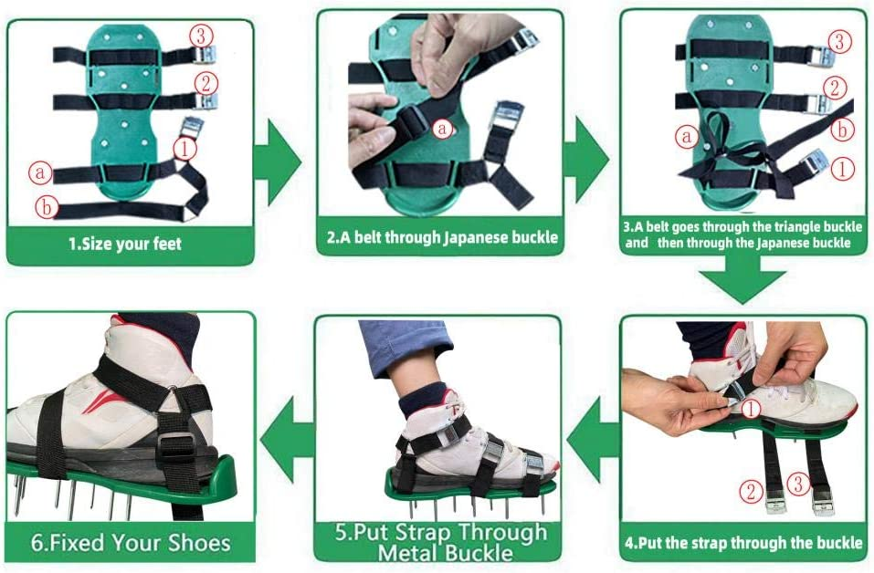 One Size Fits All XUDREZ Lawn Aerator Shoes Aerating Lawn Soil Sandals 2 Belt 3 Corner Belt Metal Loose Shoes Black Easy Use for a Healthier Yard and Garden