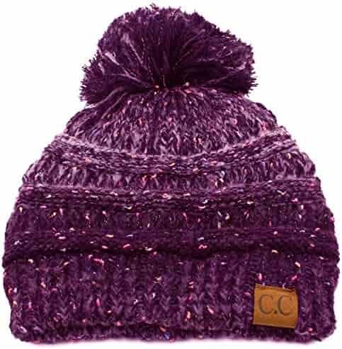 96cd20a1be4 CC Confetti Ombre Big Pom Pom Warm Chunky Soft Stretch Knit Beanie Hat